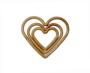 Heart Shape Macrame Frame Rings, Pack of 15 Small, Medium and Large Wood Effect, Craft, Hobby. S7831